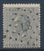 "BELGIE - OBP Nr 17A - Gest./obl. P87  ""COURTRAI"" (ref. ST 1240) - Witte Vlek Op T Van POSTES - 1865-1866 Profile Left"