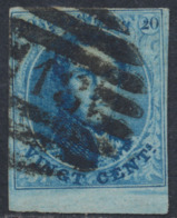 "Médaillon - N°11A Margé + BDF Obl P18 (8 Barres) ""Binche"". TB - 1858-1862 Medallions (9/12)"