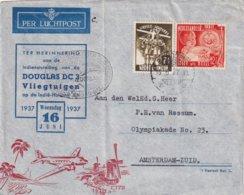 INDES NEERLANDAISE 1937 PLI AERIEN ILLUSTRE DE BANDOENG POUR AMSTERDAM - Niederländisch-Indien