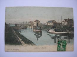 CPA Colorisée  Sarron. Oise. L'écluse. Péniches.1912. - Frankrijk
