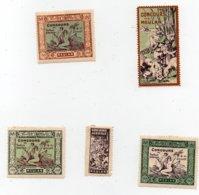 Erinnophilie Vignette Concours Agricole De Travaux Agricoles Meulan 1909 Les 5 Vignettes - Erinofilia