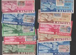 (loterie Nationale) (Bordeaux) : Lot De 10 Billets 1/10e  R.HATOUN Années 50 (PPP21090) - Loterijbiljetten