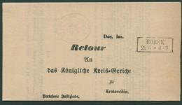PREUSSEN 1869, R2 BOREK AUF DIENSTBRIEF NACH KROTOSCHIN, INNENDIENSTSTEMPEL - Preussen (Prussia)