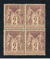 BLOC DE 4 YT 85 NEUF SANS CHARNIERE COTE 60 € - 1876-1898 Sage (Tipo II)