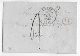 1845 - DROME - LETTRE De ALLEX Avec BOITE RURALE G + T13 De CREST => LYON - Marcophilie (Lettres)