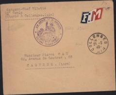 Guerre 40 Vignette Tricolore FM Bleu Blanc Rouge CAD Collonges 01 25 2 40 Cachet 2e Génie 4 Groupe Section Télégraphique - Marcophilie (Lettres)