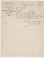 Nord: A. Dumoulin , Gd Rue à Condé, Epicerie / Comestibles / Vins / Courrier De 1895 - Levensmiddelen