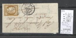 France - Yvert 1 - Ceres 10 Centimes Sur Lettre De MASSAT - Ariege - PC 1912 - 1852 - Postmark Collection (Covers)