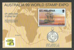 ST HELENA 1999 SHIPS EXPLORERS CAPTAIN COOK ENDEAVOUR AUSTRALIA 99 M/SHEET MNH - St. Helena
