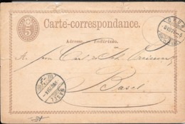 CHUR A BASEL AN 1875 ENTIER CIRCULEE VOIR SCANS - Entiers Postaux