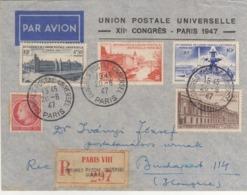 Francia 1947 UPU Universal Postal Congress Paris Annullo Tondo + Raccomandata - UPU (Unión Postal Universal)