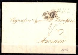 Monaco Belle Marque Postale Entière De 1846 Envoyée De Bavière Vers Monaco. Très Belle Qualité! A Saisir! - Monaco