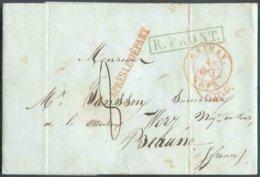 LAC De CHIMAY Le 4 Août 1848 + Griffe Rouge APRES LE DEPART + Griffe Verte R.FRONT Vers Beaune. - TB - 14735 - 1830-1849 (Independent Belgium)