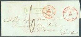 LAC De TOURNAY Le 10 Mai 1849 + Griffe Verte R.FRONT Vers La Vilette. - Superbe - 14736 - 1830-1849 (Independent Belgium)