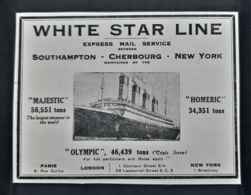 PAQUEBOT WHITE STAR LINE 1920 MAJESTIC HOMERIC OLYMPIC PUBLICITE ANCIENNE ANTIQUE ADVERTISING STEAMSHIP PAQUEBOTS BOAT - Publicidad