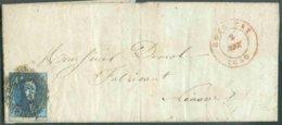 N°4 - Médaillon 20 Centimes Bleu, TB Margé Et Voisin, Obl. P.29 Sur Lettre De COURTRAY Le 2 Novembre 1850 (début Du Tira - 1849-1850 Médaillons (3/5)