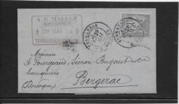 France N°77 Sur Lettre TB - 1876-1898 Sage (Type II)