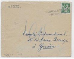 1940 - MARQUE De FORTUNE - ARDENNES - LETTRE CENSUREE (DOS) Avec MARQUE PROVISOIRE De SIGNY LE PETIT => GENEVE - IRIS - Poststempel (Briefe)