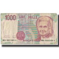 Billet, Italie, 1000 Lire, KM:114a, B+ - [ 2] 1946-… : Repubblica