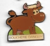 Pin's  Ville, Animal  VACHE  Sur  Publicité  BOUCHERIE  DANGUY  à  CHATEL CENSOIR  ( 89 ) - Dieren