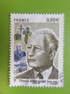 Timbre France YT 5035 - Centenaire Naissance Pierre Messmer - Homme Politique Français - Portrait - 2016 - Oblitérés