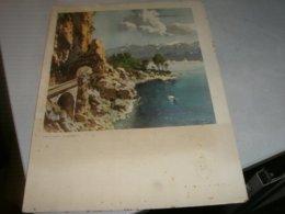 MENU' PIROSCAFO CONTE GRANDE 1937ILLUSTRATO RAFFIGURANTE IL LAGO DI GARDA - Menu