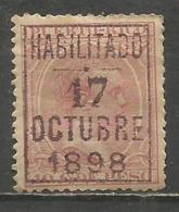 PUERTO RICO ALFONSO XIII PELÓN 10 C. DE PESO. SOBRECARGA HABILITADO 17 OCTUBRE 1898 * NUEVO CON FIJASELLOS - Puerto Rico