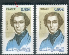 Variété N° Yvert 3780,1 Exemplaire Avec Du Bleu En Haut + 1 Normal, Neufs Luxe - Prix Fixe - Réf V 774 - Variétés Et Curiosités