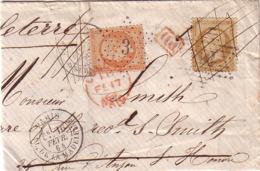PARIS - EMPIRE N°21 OBLITERATION ETOILE 18 - REXPEDITION POUR LONDRES AVEC EMPIRE N°23 OBLITERATION ETOILE 3 - Marcophilie (Lettres)