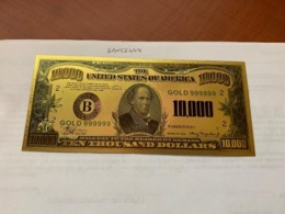 United States $10,000.00 Gold Foil Souvenir Banknote - Devise Nationale