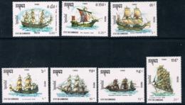 Cambodia 1990 Ships Transport English Dutch Spanish French Merchant Clipper Sailing Ship Boats Stamps MNH Michel 1158-64 - Ships