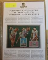 Bolivia - Bolivien 1986.  Sonderblock Auf Zinnfolie Mit Abbildung Von Steffi Graf Und Boris Becker - Bolivia