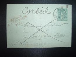 LETTRE MIGNONNETTE EP SAGE 5 OBL.17 JUIN 85 CORBEIL SEINE ET OISE (91 ESSONNE) Griffe Rouge RETOUR 3421 (SOISY SS ETIOLL - Marcophilie (Lettres)