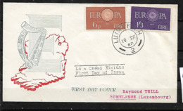 &S37& IRELAND 1960 MI 146/147, YVERT 146/147 IN FDC. EUROPA CEPT. - Lettres & Documents