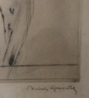 Norbert Goeneutte 1854-1894. Szignált Hölgyportré, Rézkarc Keretben , Képméret 32*20 Cm  /  Signed Lady Portrait Copper - Incisioni