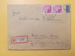 1949 BUSTA RACCOMANDATA GERMANIA DEUTSCHE OCCUPAZIONE BOLLO GERMAN BUILDINGS ANNULLO OBLITERE' KREFELD GERMANY - Bizone