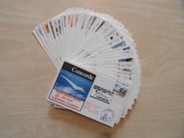 CONCORDE : LOT De 35 ENVELOPPES PLIS TRANSPORTÉS À BORD (TOUTES DIFFÉRENTES) AÉRIEN FLIGHT - Concorde