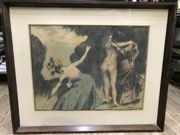 Vaszary János (1867-1939): Tavasz, 1902.  Színes Litográfia, 365 X 485 Mm , Keretben  /  Colored Litho, Framed - Litografia