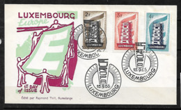 &S24& LUXEMBOURG  1957, MI 555/557, YVERT 514/516 IN FDC. EUROPA CEPT. - Luxemburg