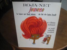 Carton Publicitaire Original 1963 - ROJA-NET Jeunesse La Laque Qui Tient Mieux & S'élimine Facilement. Illust: DELORME - Plaques En Carton