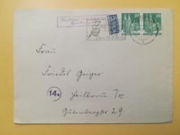 1950 BUSTA GERMANIA DEUTSCHE OCCUPAZIONE BOLLO GERMAN BUILDINGS ANNULLO OBLITERE' ETICHETTA STUTTGART GERMANY - Bizone