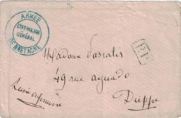 GUERRE DE 1870 - ARMEE DE BRETAGNE - ETAT-MAJOR GENERAL - EN BLEU - PP - VERSO DIEPPE 13 DECEMBRE 1870 - SANS TEXTE. - Poststempel (Briefe)