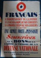 """Document- Affiche : """" Français ...exigent ,une Armée Forte Et Puissante ..""""- (117 Cm X 0.67 Cm ) - Documentos"""