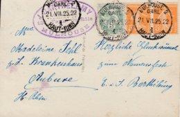 Env Affr Y&T 111 + 158 X 2 Obl MULHOUSE 2 GARE Du 21.VII 25 Adressé à Aubure - Marcophilie (Lettres)