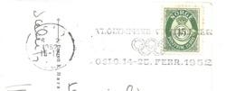 1952 Jeux Olympiques D'Hiver :OSLO ;flamme-annonce Du Bureau De VIKA; - Winter 1952: Oslo