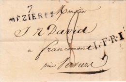 LAC De Mézières (D7) Du 25 Février 1819 Vers Francomont (Verviers) Belgique 8 De Port France Par Verdin Marque LFRI - Marcophilie (Lettres)