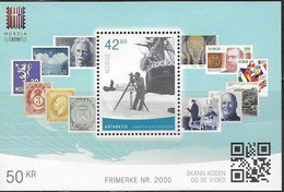 NORWAY, 2019, MNH, NORDIA STAMP EXHIBITION, STAMP NO 2000, STAMP ON STAMP, SHIPS, ANTARCTIC, S/SHEET - Stamps On Stamps