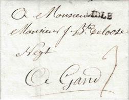 Précurseur Lettre Datée De 1787 Avec Manuscrit De Lille En Noir Vers Gand 3 De Port - 1701-1800: Precursors XVIII