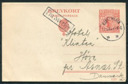 1920 Sweden 10 Ore Brevkort Stationery Postcard. Malmo - Denmark. FRA SVERIGE Paquebot. Copenhagen 15 Arrival - Covers & Documents