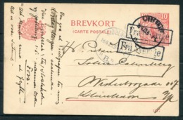 1920 Sweden 10 Ore Brevkort Stationery Postcard - Denmark. FRA SVERIGE Paquebot. Copenhagen - 1913-47 (Christian X)